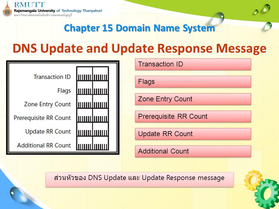 ส่วนหัวของ DNS Update และ Update Response message DNS Update and Update Response Message Chapter 15 Domain Name System Transaction ID Flags Zone Entry Count Prerequisite RR Count Update RR Count Additional Count