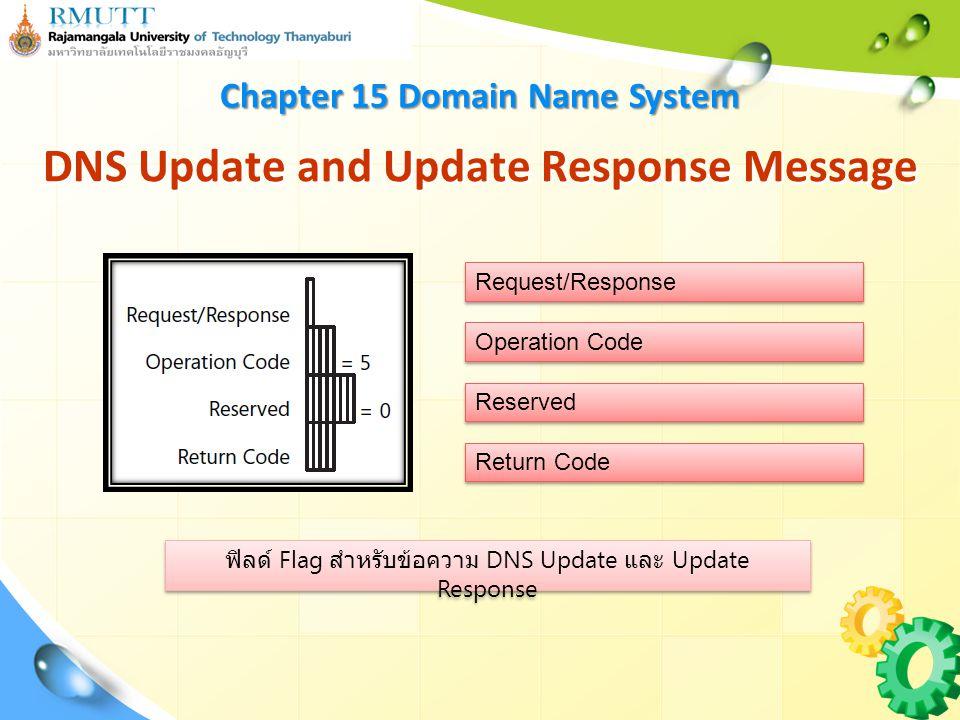 ฟิลด์ Flag สำหรับข้อความ DNS Update และ Update Response DNS Update and Update Response Message Chapter 15 Domain Name System Request/Response Operation Code Reserved Return Code
