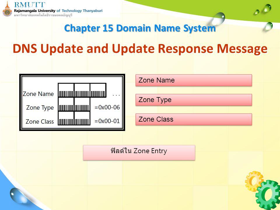 ฟิลด์ใน Zone Entry DNS Update and Update Response Message Chapter 15 Domain Name System Zone Name Zone Type Zone Class