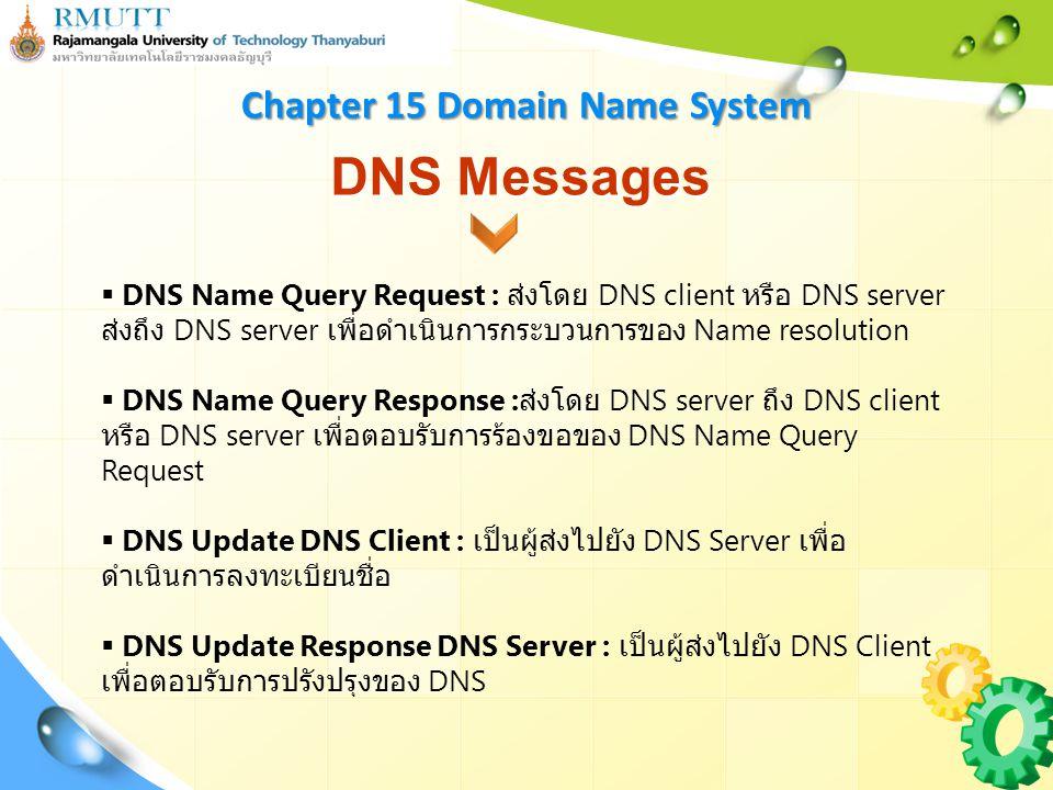 DNS Messages  DNS Name Query Request : ส่งโดย DNS client หรือ DNS server ส่งถึง DNS server เพื่อดำเนินการกระบวนการของ Name resolution  DNS Name Query Response : ส่งโดย DNS server ถึง DNS client หรือ DNS server เพื่อตอบรับการร้องขอของ DNS Name Query Request  DNS Update DNS Client : เป็นผู้ส่งไปยัง DNS Server เพื่อ ดำเนินการลงทะเบียนชื่อ  DNS Update Response DNS Server : เป็นผู้ส่งไปยัง DNS Client เพื่อตอบรับการปรังปรุงของ DNS Chapter 15 Domain Name System