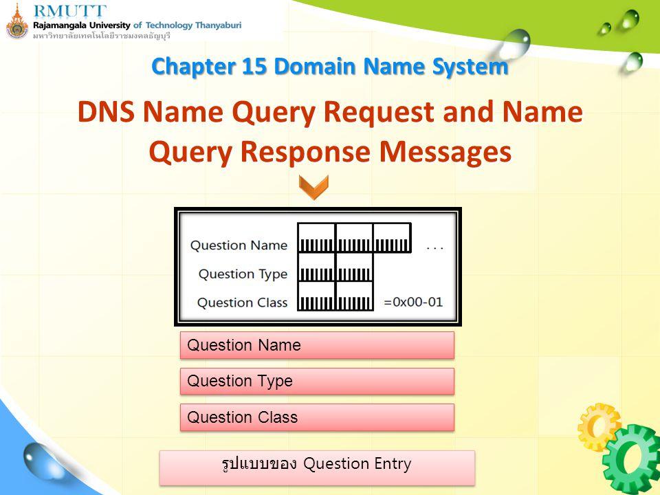 รูปแบบของ Question Entry DNS Name Query Request and Name Query Response Messages Question Name Question Type Question Class Chapter 15 Domain Name System