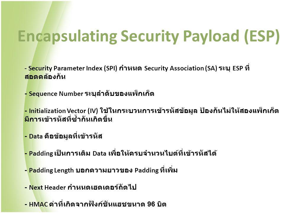 - Security Parameter Index (SPI) กำหนด Security Association (SA) ระบุ ESP ที่ สอดคล้องกัน - Sequence Number ระบุลำดับของแพ็กเก็ต - Initialization Vector (IV) ใช้ในกระบวนการเข้ารหัสข้อมูล ป้องกันไม่ให้สองแพ็กเก็ต มีการเข้ารหัสที่ซ้ำกันเกิดขึ้น - Data คือข้อมูลที่เข้ารหัส - Padding เป็นการเติม Data เพื่อให้ครบจำนวนไบต์ที่เข้ารหัสได้ - Padding Length บอกความยาวของ Padding ที่เพิ่ม - Next Header กำหนดเฮดเดอร์ถัดไป - HMAC ค่าที่เกิดจากฟังก์ชันแฮชขนาด 96 บิต