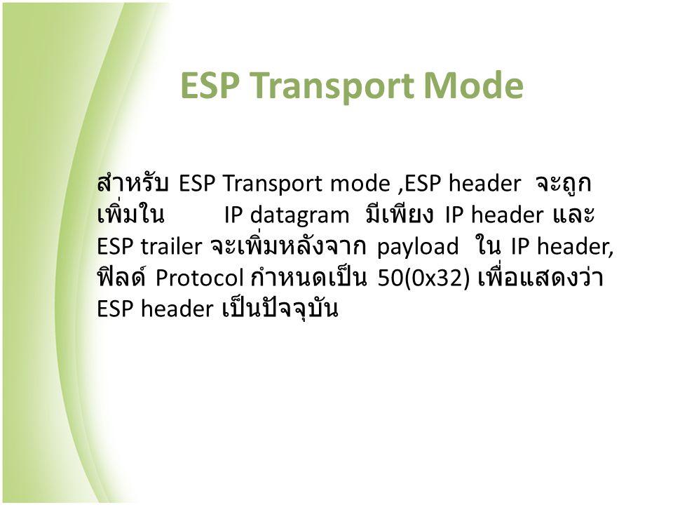 ESP Transport Mode สำหรับ ESP Transport mode,ESP header จะถูก เพิ่มใน IP datagram มีเพียง IP header และ ESP trailer จะเพิ่มหลังจาก payload ใน IP header, ฟิลด์ Protocol กำหนดเป็น 50(0x32) เพื่อแสดงว่า ESP header เป็นปัจจุบัน