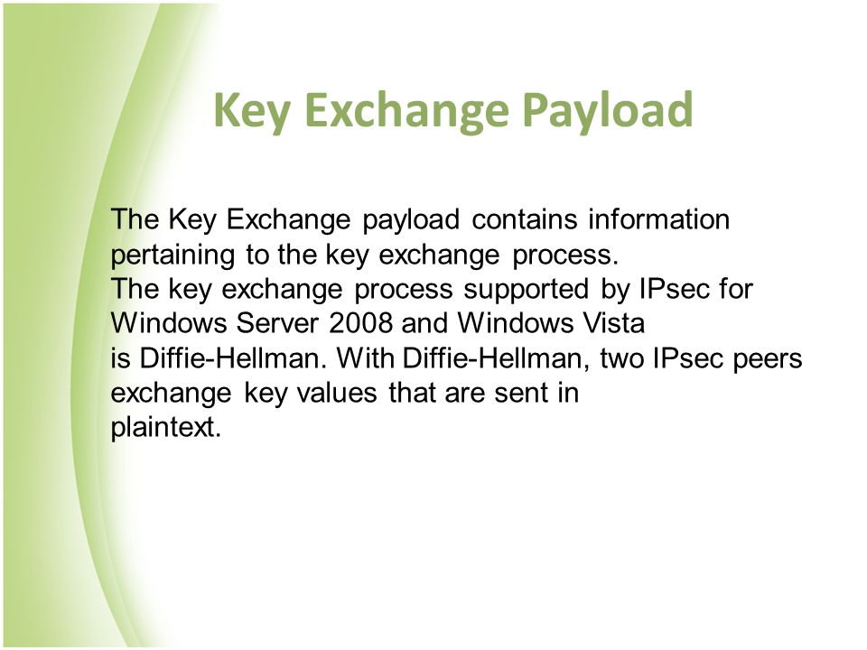 Key Exchange Payload The Key Exchange payload contains information pertaining to the key exchange process. The key exchange process supported by IPsec