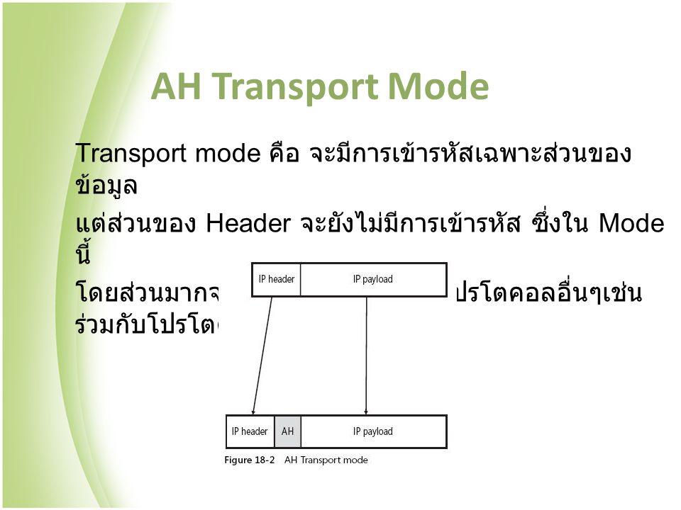 AH Transport Mode Transport mode คือ จะมีการเข้ารหัสเฉพาะส่วนของ ข้อมูล แต่ส่วนของ Header จะยังไม่มีการเข้ารหัส ซึ่งใน Mode นี้ โดยส่วนมากจะนำไปทำงานร่วมกับโปรโตคอลอื่นๆเช่น ร่วมกับโปรโตคอล L2TP