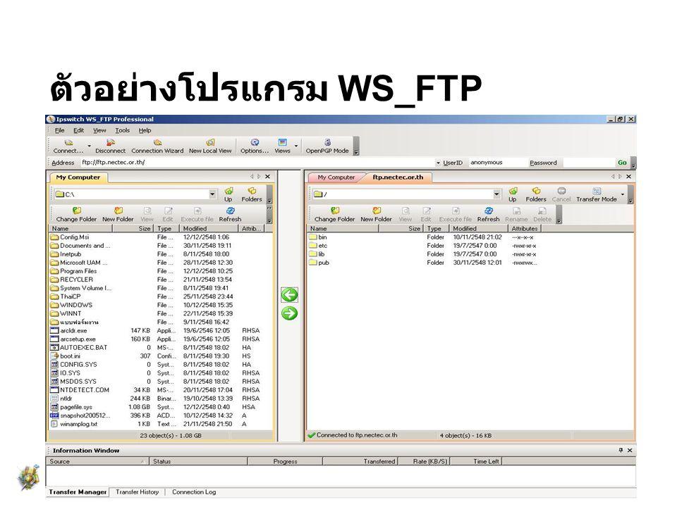 ตัวอย่างโปรแกรม WS_FTP
