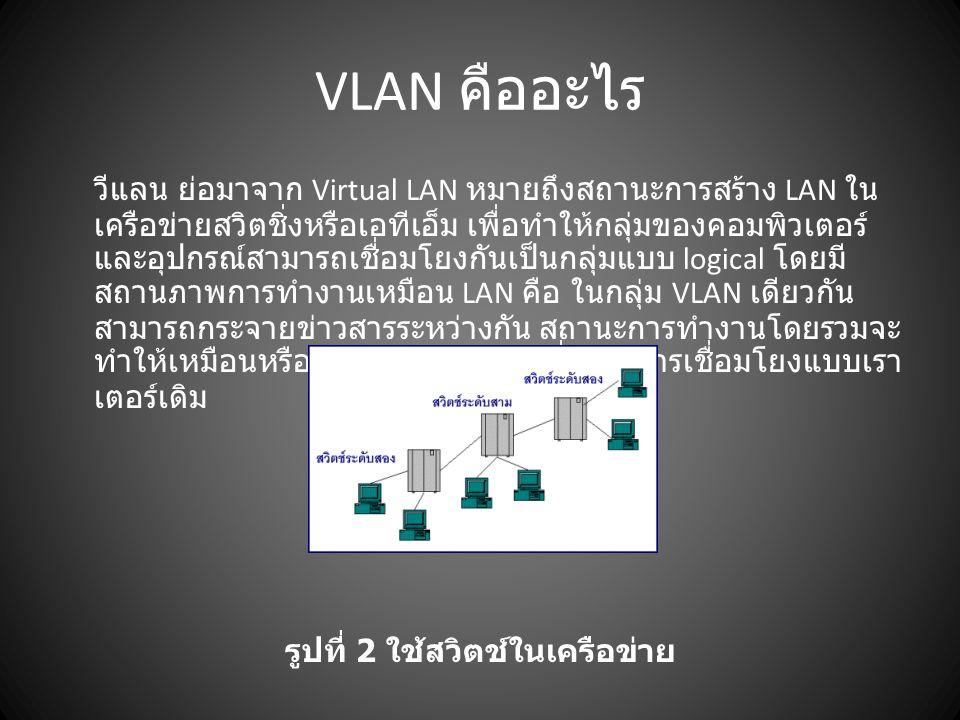 VLAN คืออะไร วีแลน ย่อมาจาก Virtual LAN หมายถึงสถานะการสร้าง LAN ใน เครือข่ายสวิตชิ่งหรือเอทีเอ็ม เพื่อทำให้กลุ่มของคอมพิวเตอร์ และอุปกรณ์สามารถเชื่อม