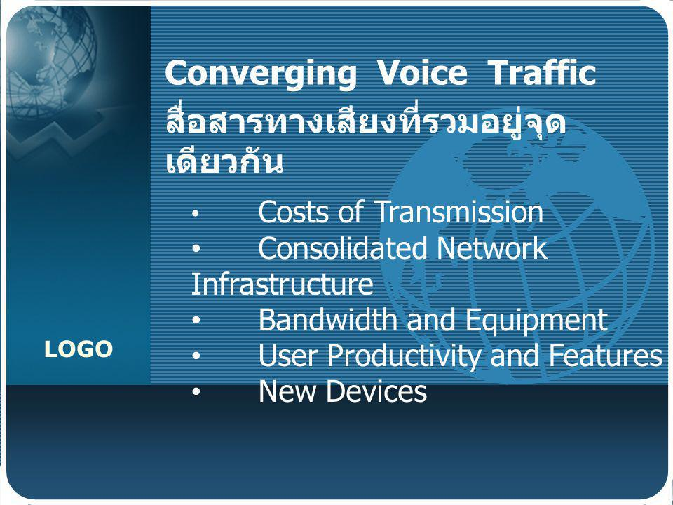 LOGO Converging Voice Traffic สื่อสารทางเสียงที่รวมอยู่จุด เดียวกัน Costs of Transmission Consolidated Network Infrastructure Bandwidth and Equipment
