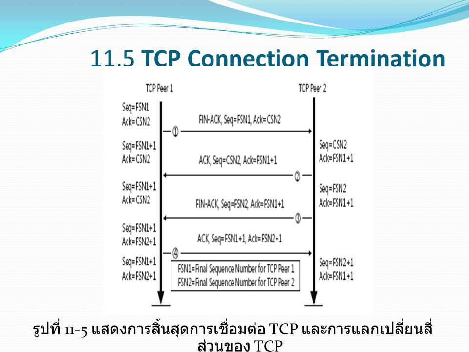 11.5 TCP Connection Termination รูปที่ 11-5 แสดงการสิ้นสุดการเชื่อมต่อ TCP และการแลกเปลี่ยนสี่ ส่วนของ TCP