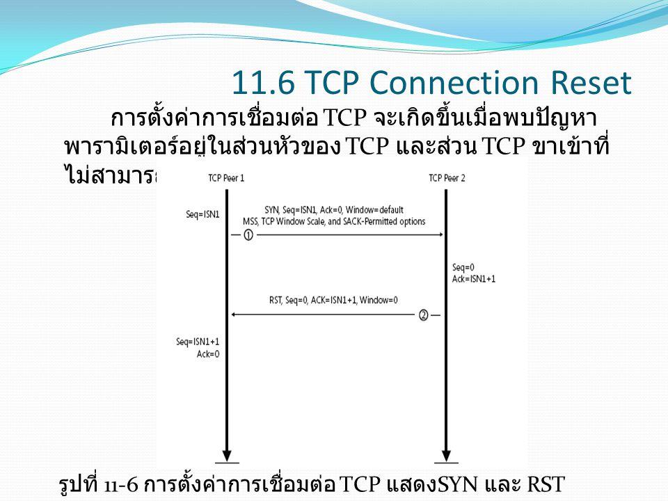 11.6 TCP Connection Reset การตั้งค่าการเชื่อมต่อ TCP จะเกิดขึ้นเมื่อพบปัญหา พารามิเตอร์อยู่ในส่วนหัวของ TCP และส่วน TCP ขาเข้าที่ ไม่สามารถเข้ากันได้