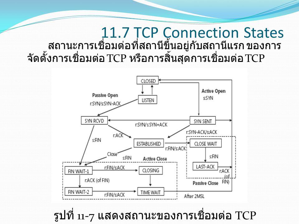 11.7 TCP Connection States สถานะการเชื่อมต่อที่สถานีขึ้นอยู่กับสถานีแรก ของการ จัดตั้งการเชื่อมต่อ TCP หรือการสิ้นสุดการเชื่อมต่อ TCP รูปที่ 11-7 แสดง