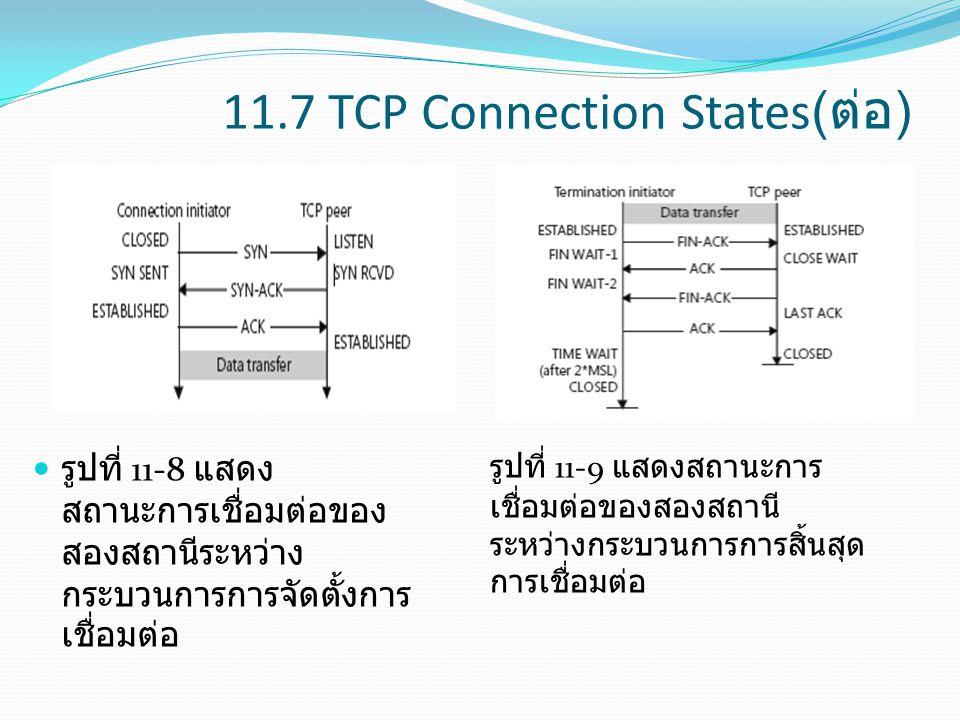 11.7 TCP Connection States( ต่อ ) รูปที่ 11-8 แสดง สถานะการเชื่อมต่อของ สองสถานีระหว่าง กระบวนการการจัดตั้งการ เชื่อมต่อ รูปที่ 11-9 แสดงสถานะการ เชื่