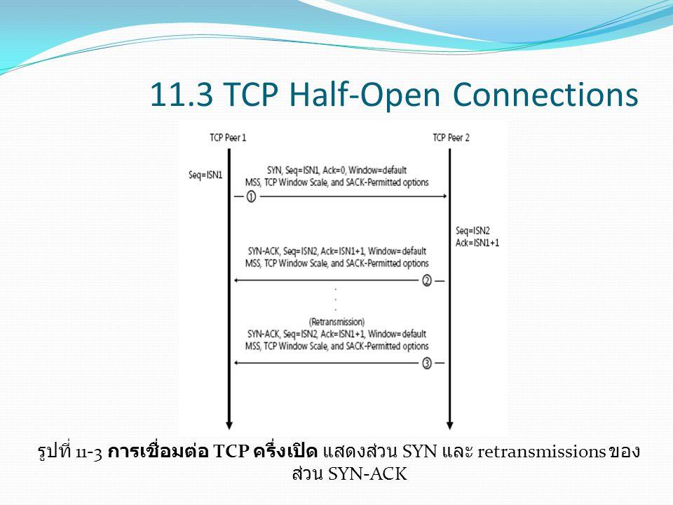 11.3 TCP Half-Open Connections รูปที่ 11-3 การเชื่อมต่อ TCP ครึ่งเปิด แสดงส่วน SYN และ retransmissions ของ ส่วน SYN-ACK