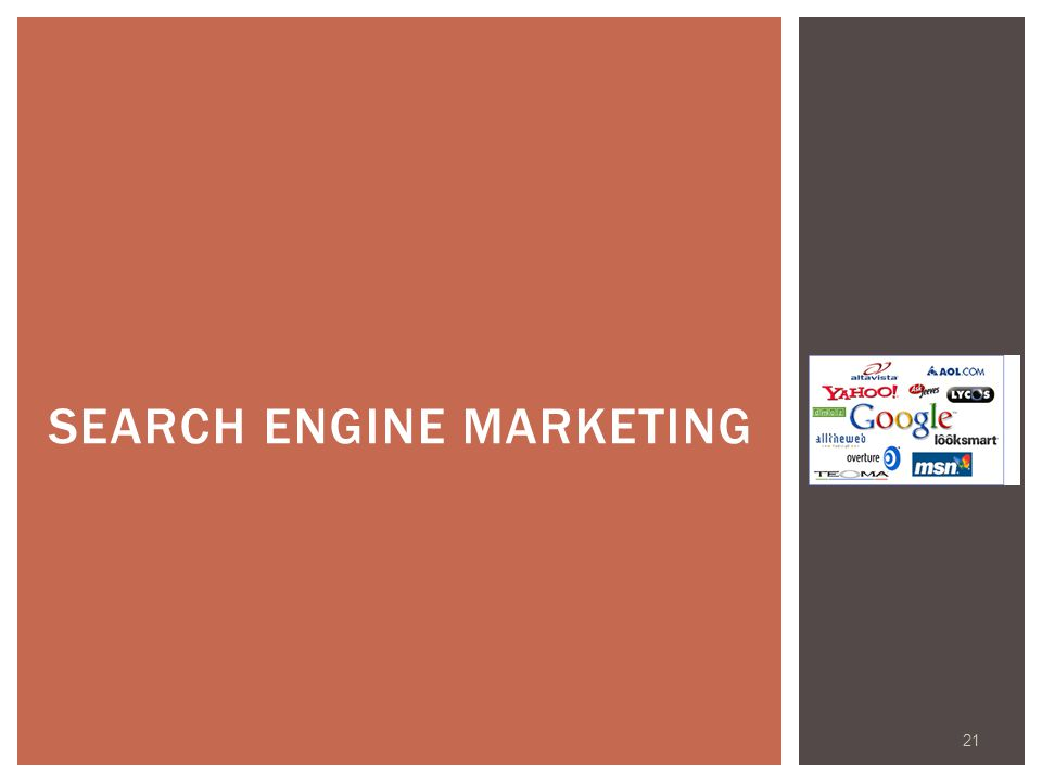 21 SEARCH ENGINE MARKETING