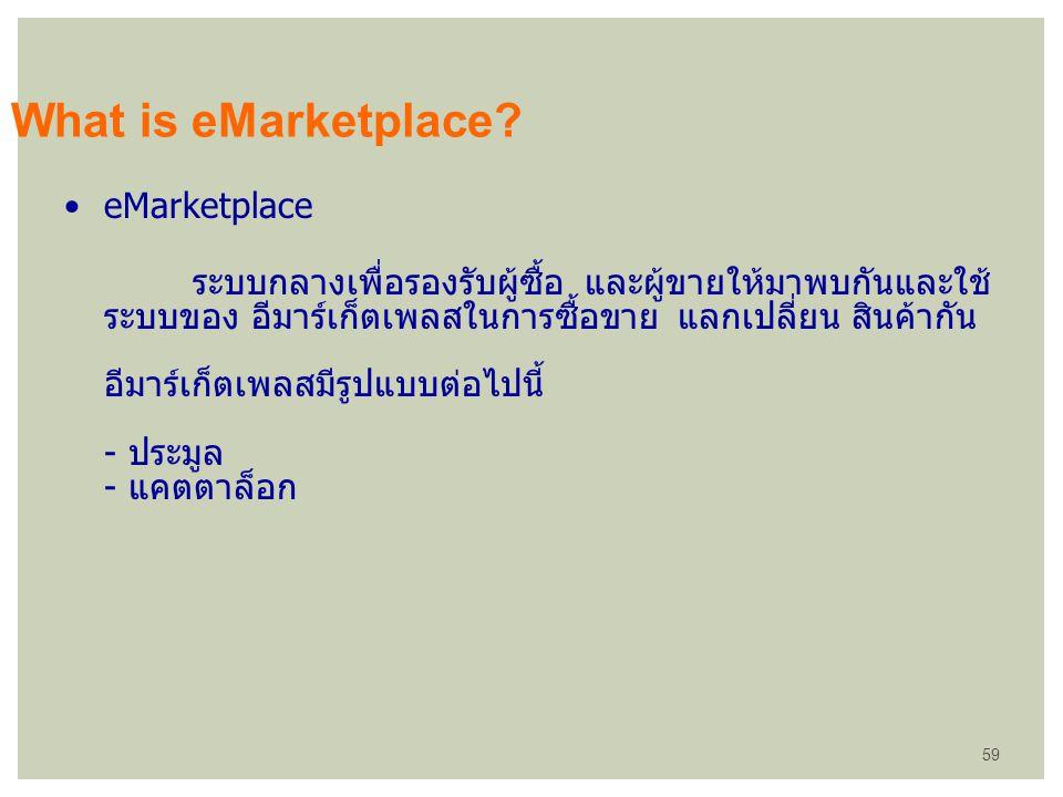eMarketplace ระบบกลางเพื่อรองรับผู้ซื้อ และผู้ขายให้มาพบกันและใช้ ระบบของ อีมาร์เก็ตเพลสในการซื้อขาย แลกเปลี่ยน สินค้ากัน อีมาร์เก็ตเพลสมีรูปแบบต่อไปน