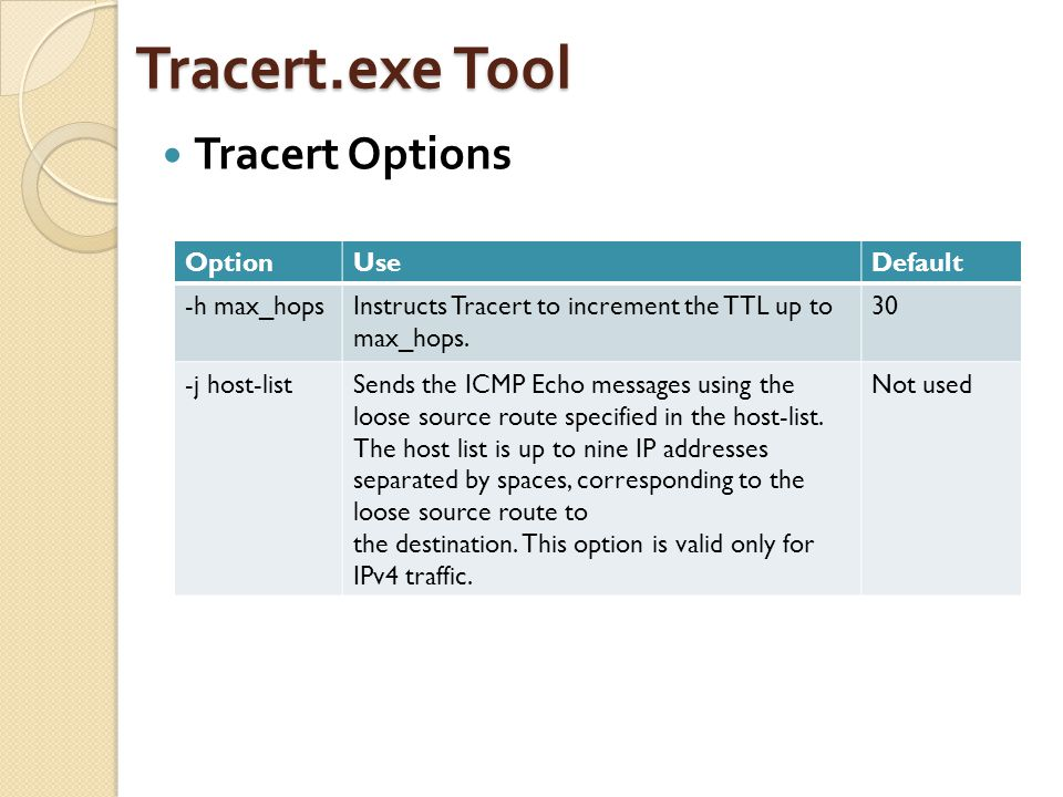 Tracert.exe Tool Tracert Options OptionUseDefault -h max_hopsInstructs Tracert to increment the TTL up to max_hops. 30 -j host-listSends the ICMP Echo