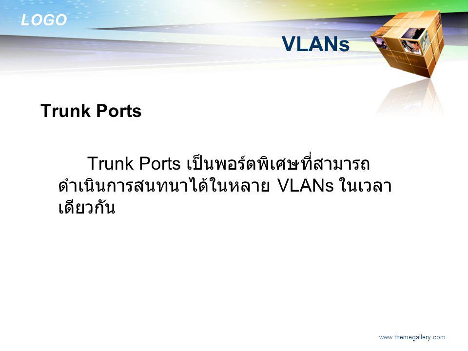 LOGO www.themegallery.com VLANs Trunk Ports Trunk Ports เป็นพอร์ตพิเศษที่สามารถ ดำเนินการสนทนาได้ในหลาย VLANs ในเวลา เดียวกัน