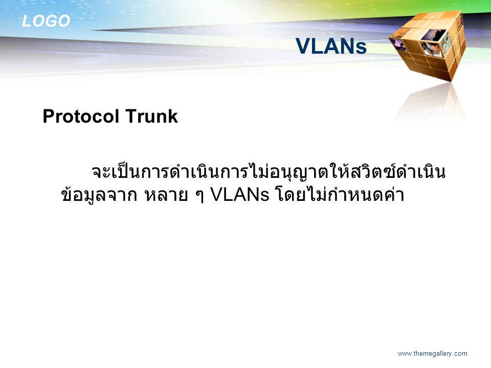 LOGO www.themegallery.com VLANs Protocol Trunk จะเป็นการดำเนินการไม่อนุญาตให้สวิตซ์ดำเนิน ข้อมูลจาก หลาย ๆ VLANs โดยไม่กำหนดค่า