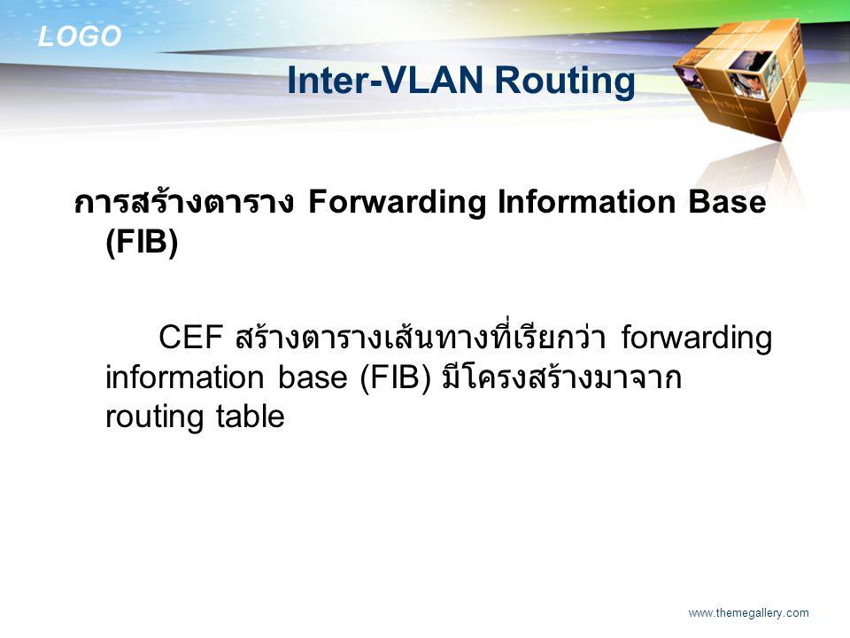 LOGO www.themegallery.com Inter-VLAN Routing การสร้างตาราง Forwarding Information Base (FIB) CEF สร้างตารางเส้นทางที่เรียกว่า forwarding information b