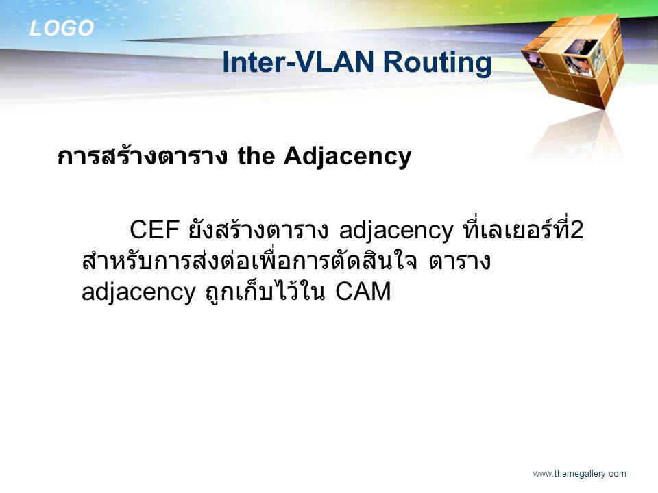 LOGO www.themegallery.com Inter-VLAN Routing การสร้างตาราง the Adjacency CEF ยังสร้างตาราง adjacency ที่เลเยอร์ที่ 2 สำหรับการส่งต่อเพื่อการตัดสินใจ ต
