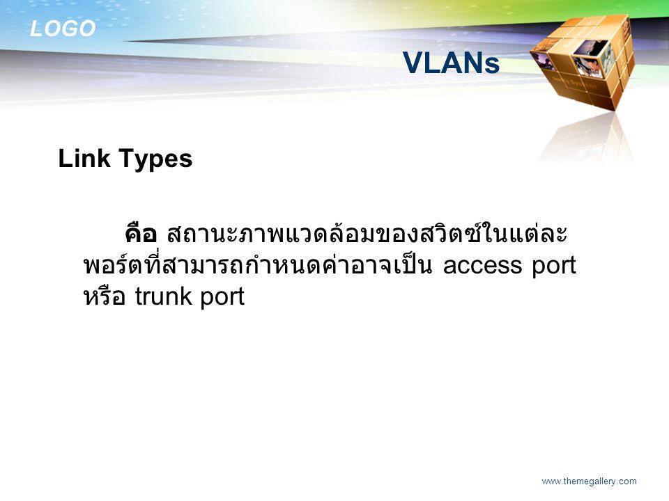 LOGO www.themegallery.com VLANs Link Types คือ สถานะภาพแวดล้อมของสวิตซ์ในแต่ละ พอร์ตที่สามารถกำหนดค่าอาจเป็น access port หรือ trunk port