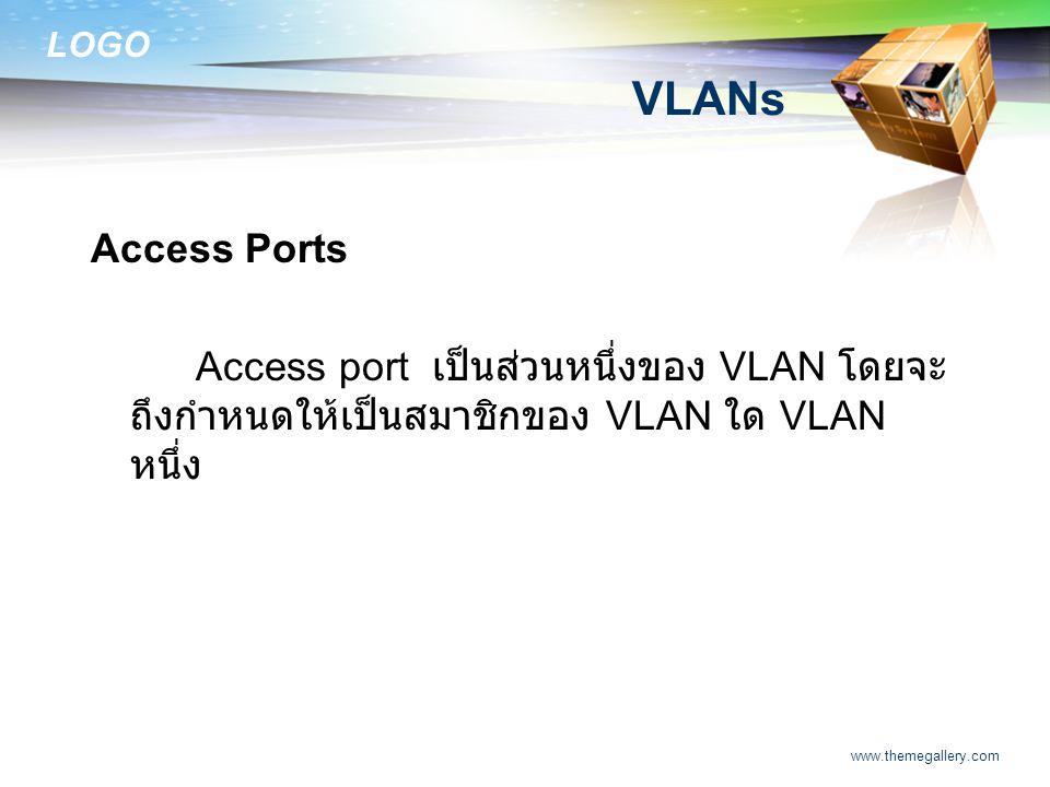 LOGO www.themegallery.com VLANs Access Ports Access port เป็นส่วนหนึ่งของ VLAN โดยจะ ถึงกำหนดให้เป็นสมาชิกของ VLAN ใด VLAN หนึ่ง