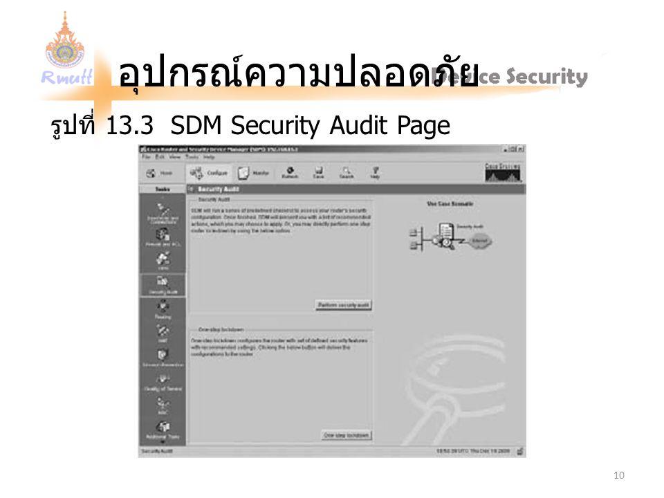 อุปกรณ์ความปลอดภัย รูปที่ 13.3 SDM Security Audit Page 10
