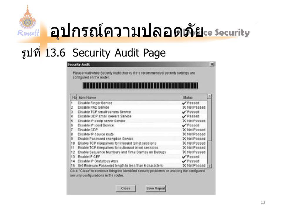 อุปกรณ์ความปลอดภัย รูปที่ 13.6 Security Audit Page 13