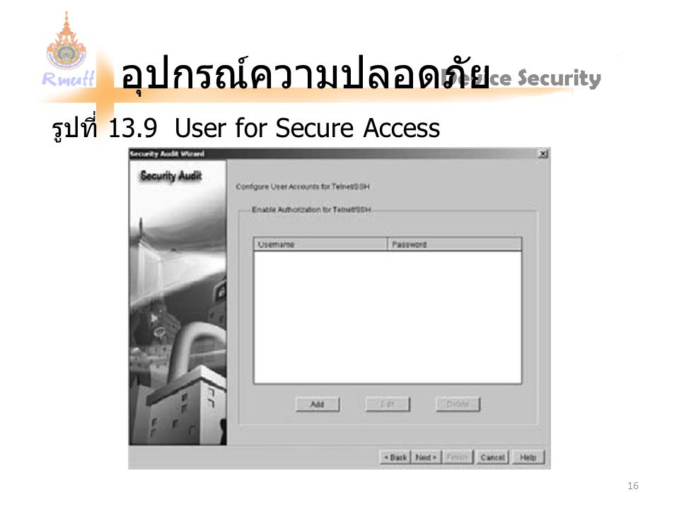 อุปกรณ์ความปลอดภัย รูปที่ 13.9 User for Secure Access 16