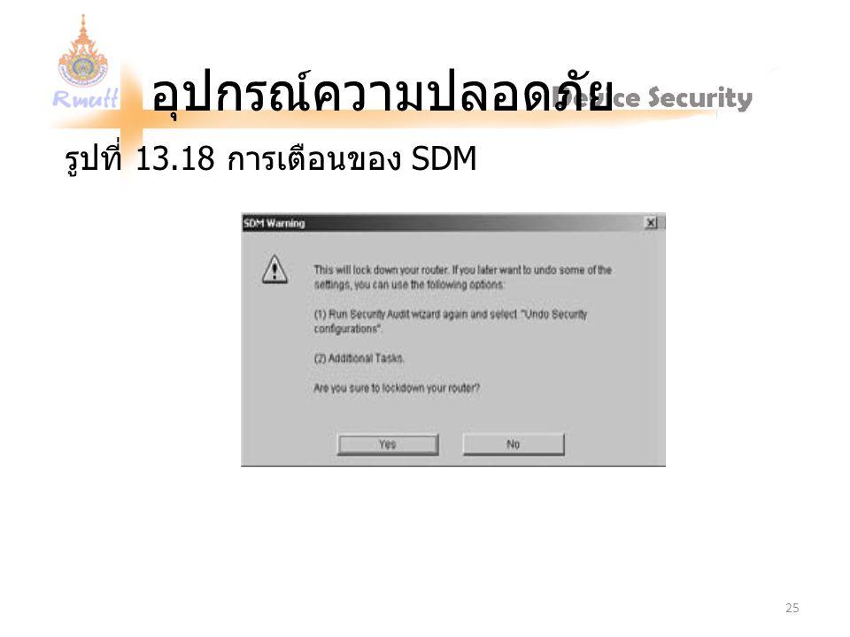 อุปกรณ์ความปลอดภัย รูปที่ 13.18 การเตือนของ SDM 25