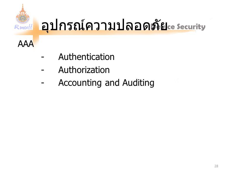 อุปกรณ์ความปลอดภัย AAA - Authentication - Authorization - Accounting and Auditing 28
