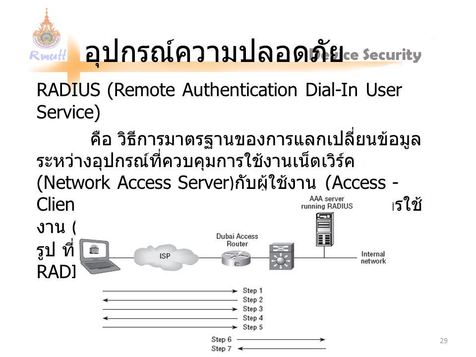อุปกรณ์ความปลอดภัย RADIUS (Remote Authentication Dial-In User Service) คือ วิธีการมาตรฐานของการแลกเปลี่ยนข้อมูล ระหว่างอุปกรณ์ที่ควบคุมการใช้งานเน็ตเวิร์ค ( Network Access Server ) กับผู้ใช้งาน ( Access - Clients ) และอุปกรณ์ที่ทำหน้าที่ตรวจสอบสิทธิ์การใช้ งาน ( Radius Server ) รูป ที่ 13.22 แสดงขั้นตอนตาม กระบวนการ RADIUS 29
