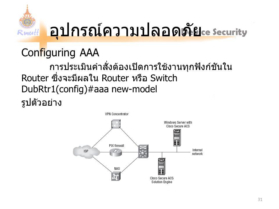 อุปกรณ์ความปลอดภัย Configuring AAA การประเมินคำสั่งต้องเปิดการใช้งานทุกฟังก์ชันใน Router ซึ่งจะมีผลใน Router หรือ Switch DubRtr1(config)#aaa new-model รูปตัวอย่าง 31