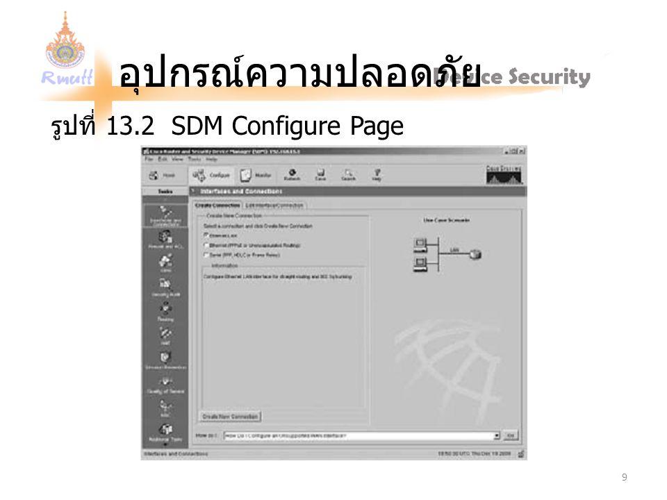 อุปกรณ์ความปลอดภัย รูปที่ 13.2 SDM Configure Page 9