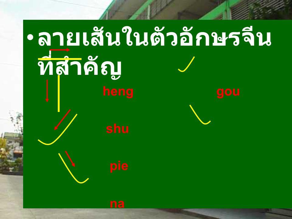 ลายเสันในตัวอักษรจีน ที่สำคัญ heng gou shu pie na