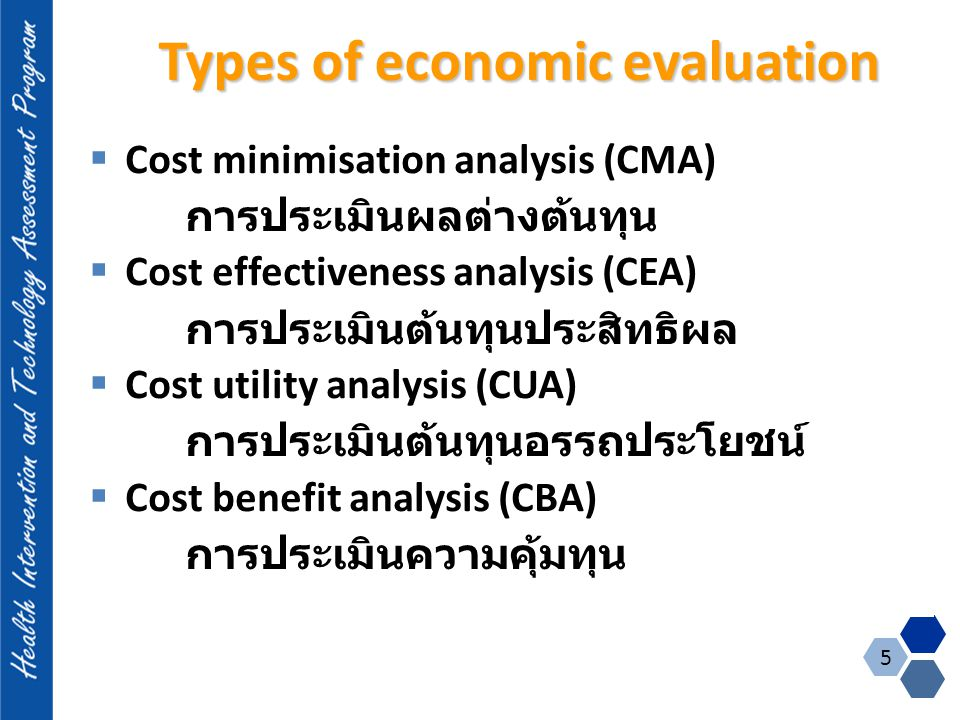Type of economic evaluation NominatorDenominator Cost-minimization$- Cost-effectiveness$Process or health outcome in natural unit e.g.