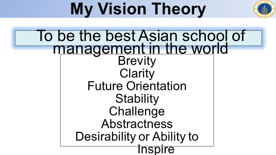 My Vision Theory To be the best Asian school of management in the world Brevity Clarity Future Orientation Stability Challenge Abstractness Desirability or Ability to Inspire