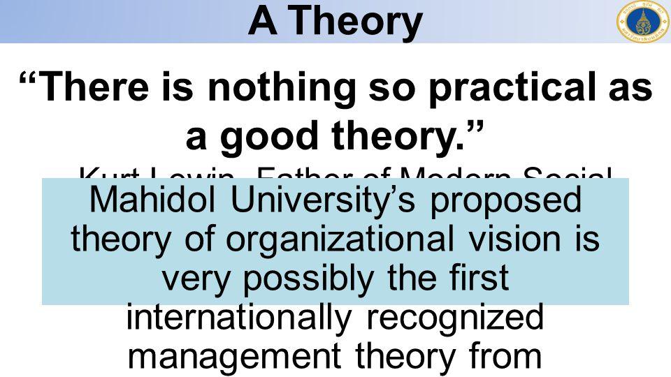 จุดเริ่มต้นของการพัฒนาทฤษฎีวิสัยทัศน์ ไม่มีทฤษฎีนี้มาก่อน ถึงแม้ว่า vision-based leadership จะถูกกล่าวถึงกันอย่างแพร่หลายในหมู่ นักวิชาการและนักปฏิบัติ งานวิจัยพบว่าวิสัยทัศน์เป็นรากฐานของภาวะผู้นำที่ มีประสิทธิภาพและวิสัยทัศน์ที่ไม่มีประสิทธิภาพ นำไปสู่การเสื่อมถอยของประสิทธิภาพโดยรวมแห่ง องค์กรในระยะยาว ไม่มีคำจัดความของ วิสัยทัศน์ ที่เป็นที่ตกลงกันใน หมู่นักวิชาการและนักปฏิบัติ ในปีค.