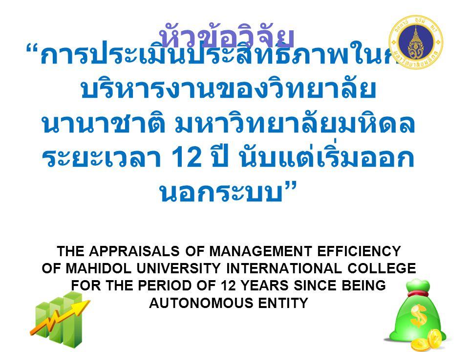 การประเมินประสิทธิภาพในการ บริหารงานของวิทยาลัย นานาชาติ มหาวิทยาลัยมหิดล ระยะเวลา 12 ปี นับแต่เริ่มออก นอกระบบ THE APPRAISALS OF MANAGEMENT EFFICIENCY OF MAHIDOL UNIVERSITY INTERNATIONAL COLLEGE FOR THE PERIOD OF 12 YEARS SINCE BEING AUTONOMOUS ENTITY หัวข้อวิจัย