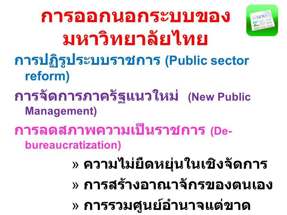 การออกนอกระบบของ มหาวิทยาลัยไทย การปฏิรูประบบราชการ (Public sector reform) การจัดการภาครัฐแนวใหม่ (New Public Management) การลดสภาพความเป็นราชการ (De- bureaucratization) » ความไม่ยืดหยุ่นในเชิงจัดการ » การสร้างอาณาจักรของตนเอง » การรวมศูนย์อำนาจแต่ขาด เอกภาพในเชิงนโยบาย » การไม่สนองตอบต่อประชาชน