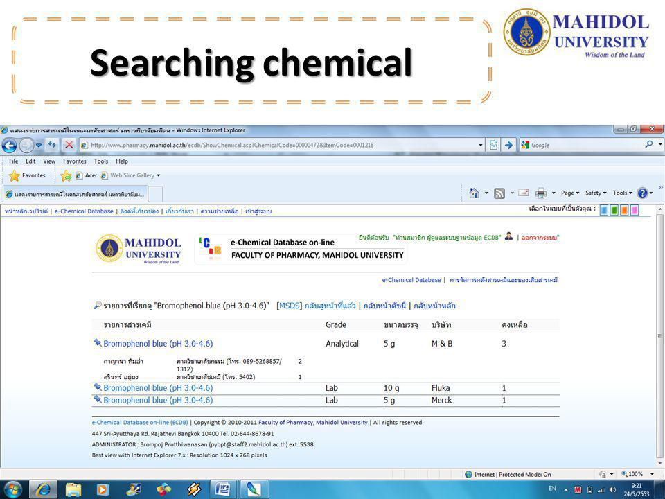 Searching chemical