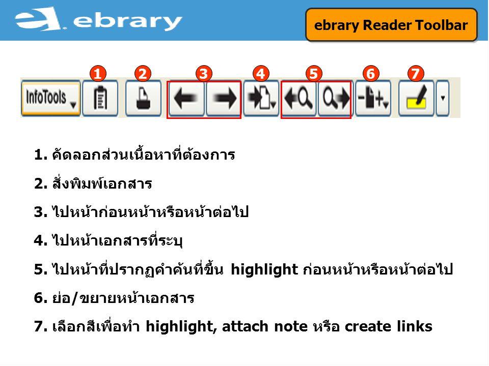ebrary Reader Toolbar 1. คัดลอกส่วนเนื้อหาที่ต้องการ 2.