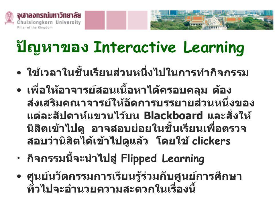 ปัญหาของ Interactive Learning ใช้เวลาในชั้นเรียนส่วนหนึ่งไปในการทำกิจกรรม เพื่อให้อาจารย์สอนเนื้อหาได้ครอบคลุม ต้อง ส่งเสริมคณาจารย์ให้อัดการบรรยายส่ว