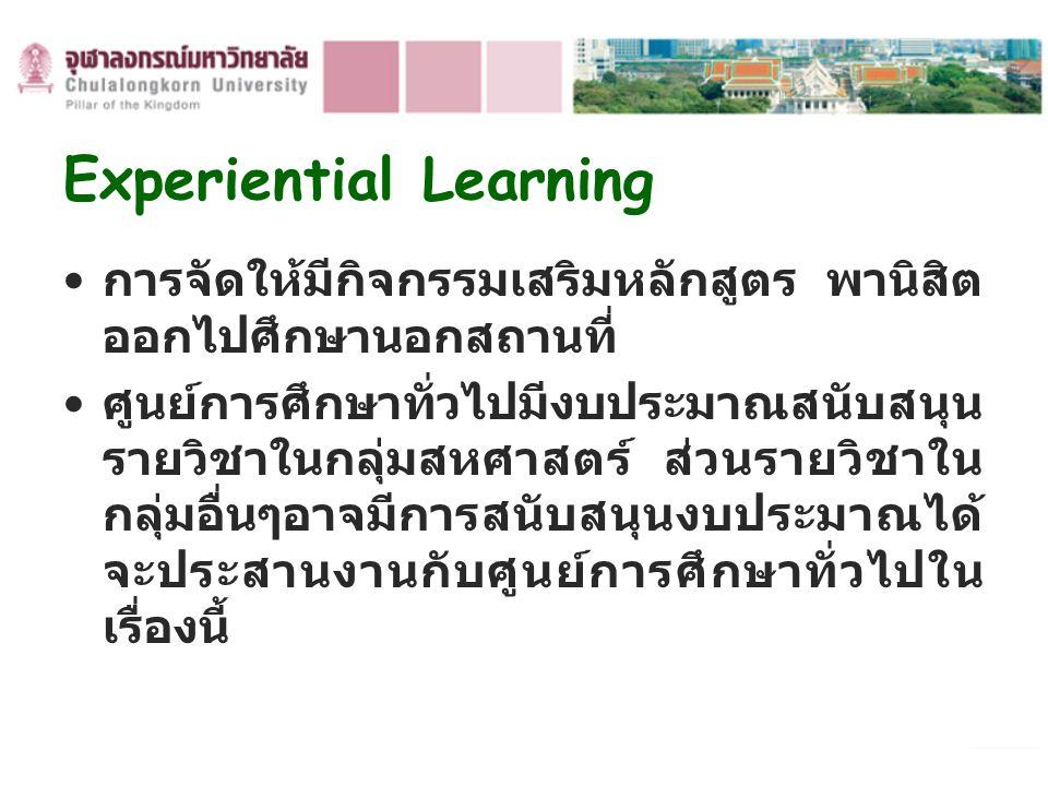Experiential Learning การจัดให้มีกิจกรรมเสริมหลักสูตร พานิสิต ออกไปศึกษานอกสถานที่ ศูนย์การศึกษาทั่วไปมีงบประมาณสนับสนุน รายวิชาในกลุ่มสหศาสตร์ ส่วนรา