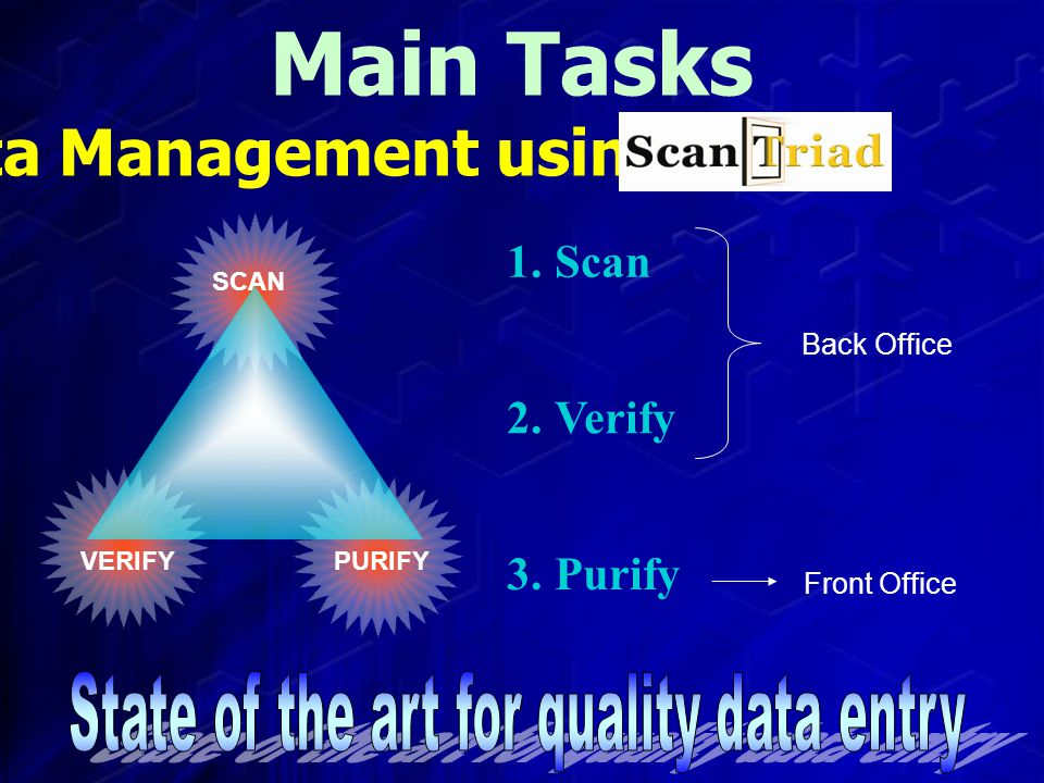 Main Tasks Data Management using 1. Scan 2. Verify 3.