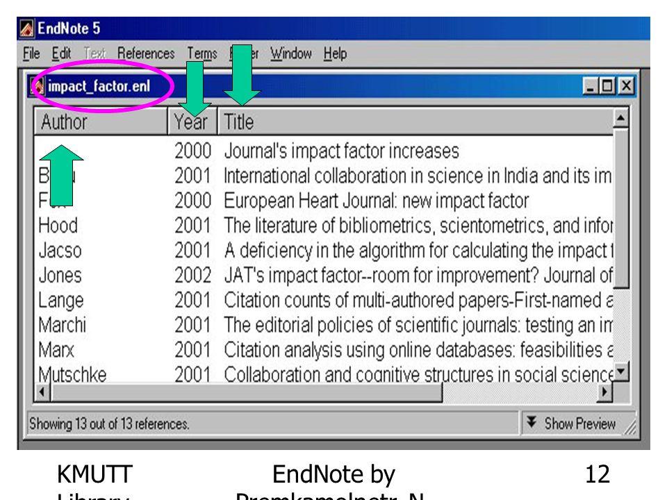 KMUTT Library EndNote by Premkamolnetr, N. 12