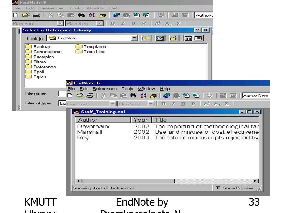KMUTT Library EndNote by Premkamolnetr, N. 33