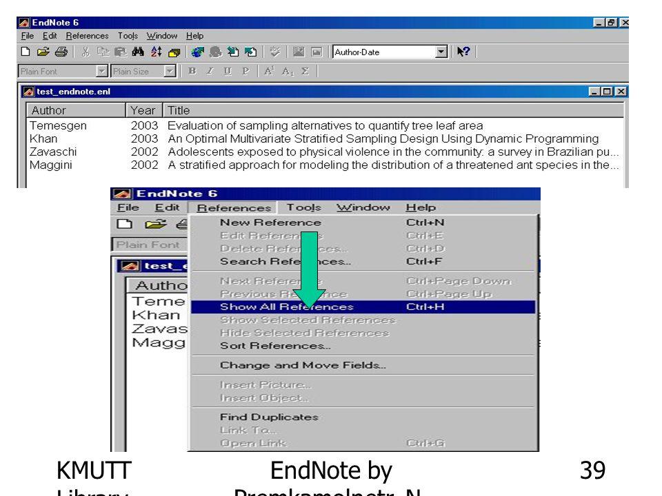 KMUTT Library EndNote by Premkamolnetr, N. 39