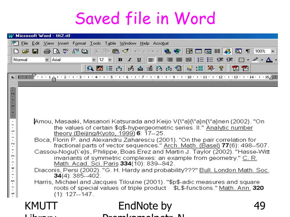KMUTT Library EndNote by Premkamolnetr, N. 49 Saved file in Word
