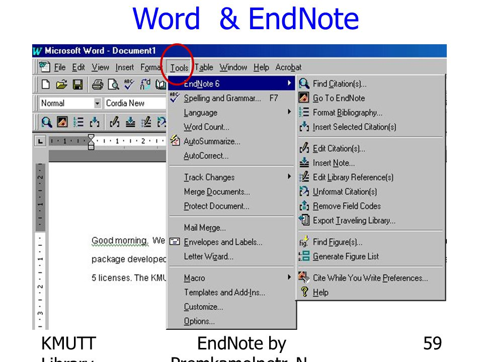 KMUTT Library EndNote by Premkamolnetr, N. 59 Word & EndNote